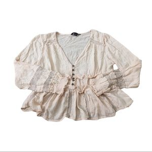 AmericanEagle Cream Off-White Buttoned-Up Blouse